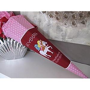 #162 Mädchen auf Pferd rosa-weinrot Schultüte Stoff + Papprohling + als Kissen verwendbar