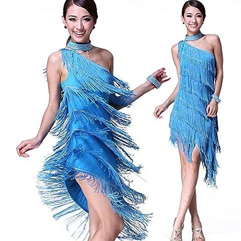 Costumes de danse latine latine dansent jupes frangées robe de danse latine compétition,Bleu clair,taille libre