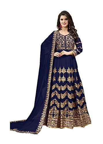 The Indian Fashions Indian Women Designer Pakistani Ethnic Traditonal Blue Salwar Kameez.