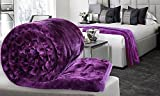 #7: Brand New blankets double bed winter soft Floral Embossed (Purple Color) - Free Gift Blanket Bag