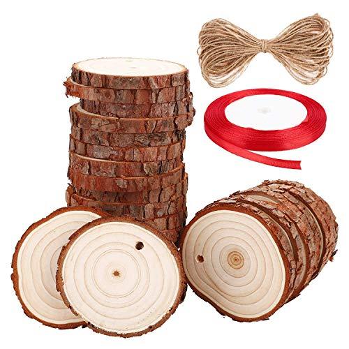 Soledì dischetti legno grezzo con foro bricolage legno creativo con corda di iuta e nastro per mestiere fatto a mano decorazioni (diametro 6-7 cm 30 pezzi)