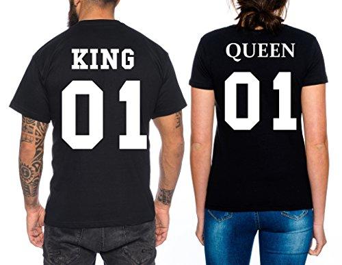*Partner Look Pärchen T-Shirt Set King Queen für Pärchen als Geschenk, Farbe:Schwarz;Größe:Damen Gr. M + Herren Gr. L*
