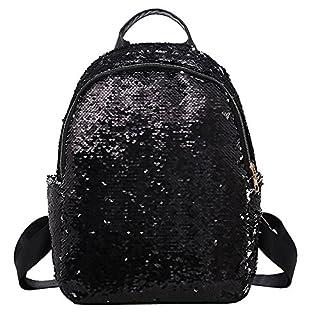 41231575bf200 Ansenesna Rucksäcke Damen Pailletten Groß Schule Backpack Mädchen Mode  Taschen Für Reise Schwarz Rosa Blau Gold