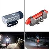 rungao Aluminium Fahrrad Head Light Rücklicht USB wiederaufladbare High Power LED Head Light Fahrrad Cycling Taschenlampe, grau