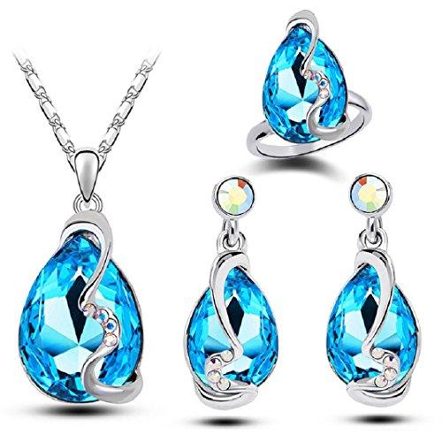 Axibi Elefant Damen Leuchtenden Strass Ohrring Halskette Ring Setzt Anhänger Schmuck Geschenk (Himmel Blau)