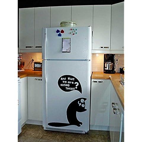 (63 x 80 cm) vinilos para nevera TecGadgets lindo hambriento gato/del gatito con mensaje pidiendo comer arte decoración wallkraft/refrigerador + libre al azar adhesivo Mural para regalo!