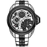 BUREI® Men's Dress Watch with Black Dial Stainless Steel Bracelet