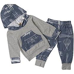 RAISEVERN bebé niña niño Ropa Casual Camiseta Traje a Rayas de impresión Camisas con Bolsillo Camiseta Top Legging Pantalones Set