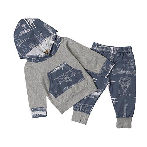 RAISEVERN RAISEVERN Baby Mädchen Jungen Freizeitkleidung Sweatshirt Outfit Striped Print Hoodies mit Tasche Sweatshirt Top Legging Hosen Set