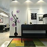 Handfly 3D Baum Vase Kristall Acryl Kunst Wandaufkleber DIY Zubeh?r Haus Zimmer Dekor Vinyl