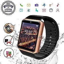 Bluetooth Smartwatch, Uhr Smart Watch Mit Kamera Tf Sim-kartensteckplatz Wasserdicht Uhren Fitness Tracker Armbanduhr Kompatible Samsung Android Huawei Sony Iphone Für Herren Damen