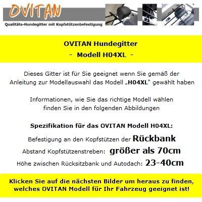 OVITAN Hundegitter XL fürs Auto 4 Streben universal zur Befestigung an den Kopfstützen der Rücksitzbank – für alle Automarken geeignet – Modell: H04XL - 3