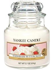 Yankee Candle Bougie Parfumée Biscuit fourré à la fraise, blanc, Small