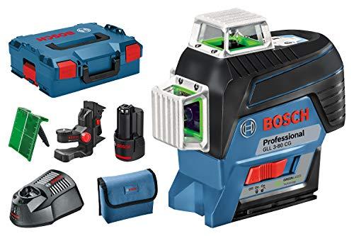 Bosch Professional Linienlaser GLL 3-80 CG (1x 2,0 Ah Akku, 12 Volt, Arbeitsbereich mit Empfänger: 120 m, in L-BOXX)