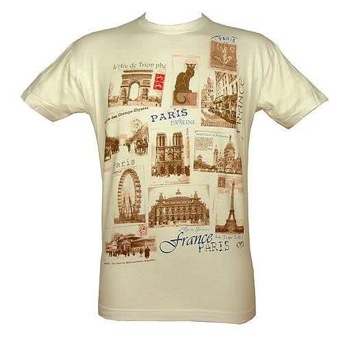 Souvenirs de France - T-Shirt Homme Monuments de Paris - Taille : XL -