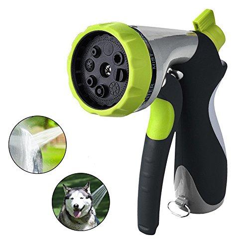Christine Robuste Schlauchdüse mit 8 einstellbaren Bewässerungsmustern aus Metall für Gartenbewässerungsdüse Hochdruck Multi Spray Bewässerungspistole Pistolengriff mit Durchflussregler, grün -