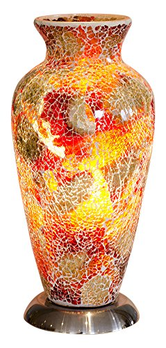 Febland Red Mosaic Glass Vase Lamp, Glass