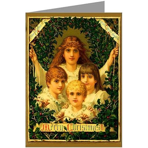 Vintage Original prangs festività biglietti di Natale di bambini attraverso circondata da corona, Victorian nota carte Boxed Set