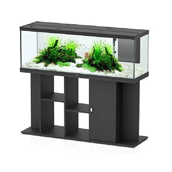 Aquatlantis Modern LED 150 x 45 Aquarium Set – Fully Equipped Unit – Comes With Base Unit, Integrated Filter System, Water Pump & Heating (Black)
