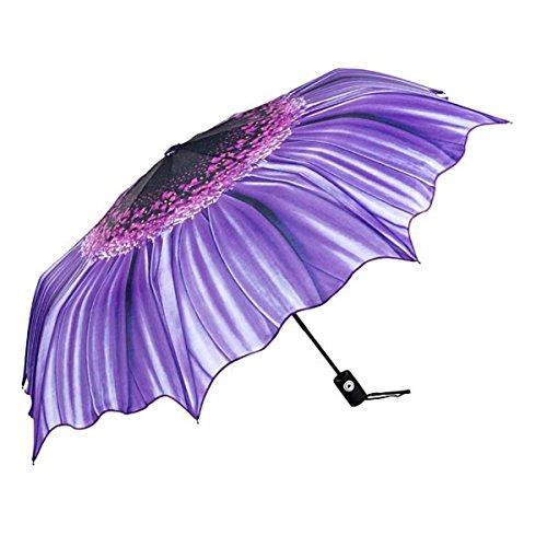 MySchirm Designer Regenschirm mit Blumenmotiv in lila - Eleganter Taschenschirm - Luxus Design - Taschenschirm - Auf-Automatik
