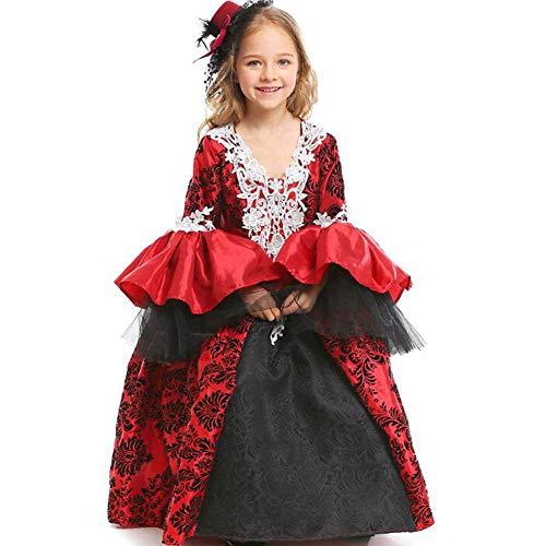 QWE Halloween Vampir Kostüm Maskerade Dress Up Retro Gericht Kleid Rock Girl Performance Kostüm (Girls Vampire Kostüm)