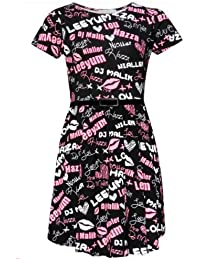 Girls Floral Chequered Graffiti pattern Skater Dress with Belt Age 7-13 years