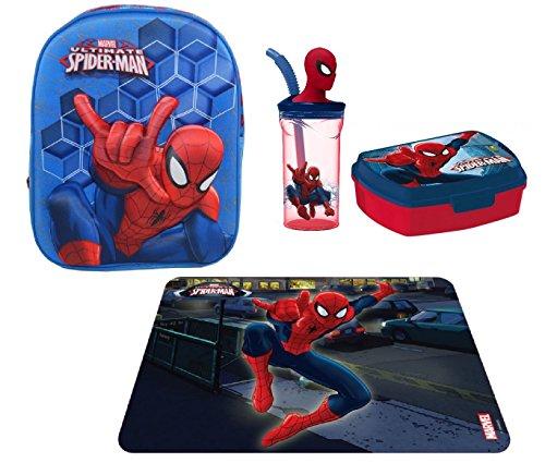 Super set zaino zainetto spiderman in 3d portamerenda asilo,scuola materna bambino