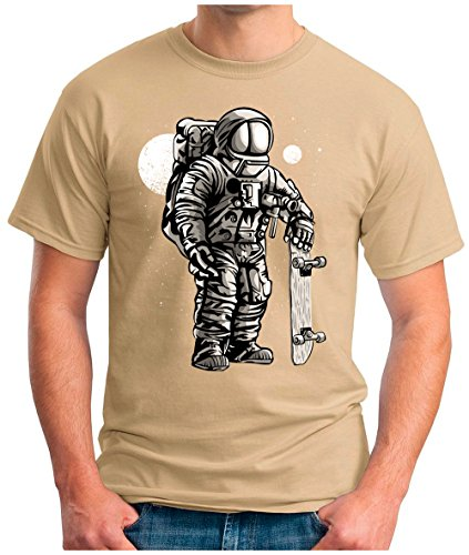 OM3 - ASTRONAUT-SKATER - T-Shirt SKATEBOARD LONGBOARD MOON STARS SPACE WELTRAUM KOSMOS SciFi PARODY FUN GEEK, S - 5XL Khaki