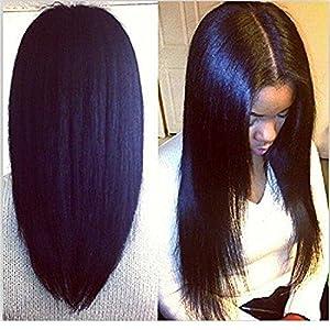 ShunWei perruque Light Yaki Vierge cheveux humains dentelle frontal couleur noir naturel pour femme 30.4cm