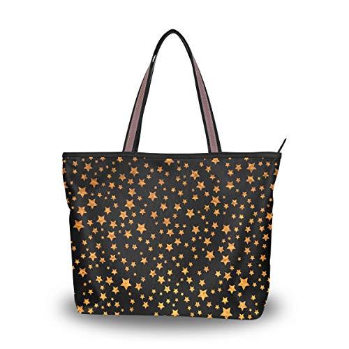 Emoya Fashion Tote Bag Abstrakte Black Gold Shiny Stars Top Handle Tote Bag Schultertasche Bag Bag L, Mehrfarbig - multi - Größe: Medium -