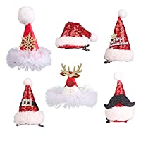 Christmas Hat Hair Accessories Glitter Bobby Pin Kids and Adults for Girls Red Christmas Hair Clip Party Birthday Festival Support Baby Gifts 6pcs
