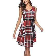 Twippo Mujer Vestido Casual, Vestido Cuadros Escoceses