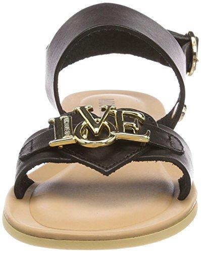 Slingback Di Colore Moschino Nero San lod Donna 10 Sandali nero Vacchetta frYp8zf