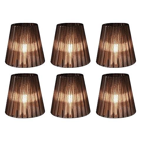 Eastlion 6 Stück 9 * 14 * 13cm Transparente Kerze Kronleuchter Lampenschirm Wand Lampe Pendelleuchte Schirm, schwarz mit (Kronleuchter Mit Lampenschirm)