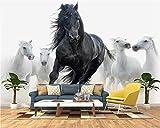 Photo papier peint personnalisé papier peint moderne minimaliste Mercedes noir et blanc cheval mur salon décoration papier peint murale -250 * 175 cm