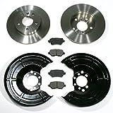 Bremsscheiben 5-Loch/Bremsen + Bremsbeläge + Spritzbleche für hinten/für die Hinterachse