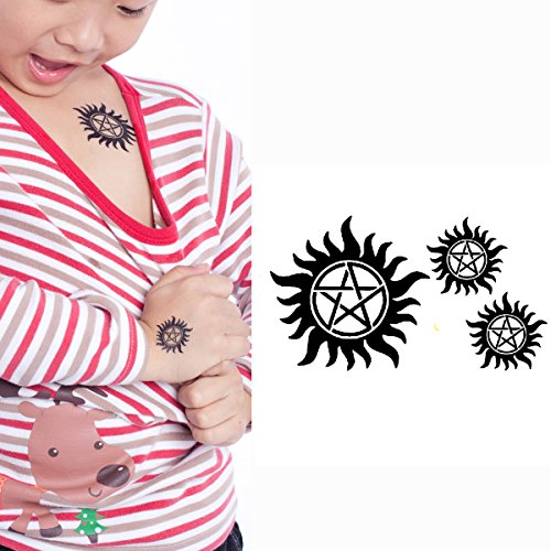 c28561dfe8ecc Yeeech Supernatural Merchandise Anti Possession Pentagram Sun Circle Star  Designs Temporary Tattoos Sticker Black Small 4
