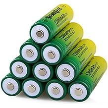 Malloom 10PCS 3.7V 1200mAH BRC 14500 batería de ion-litio recargable para linterna