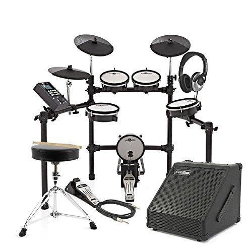 Digital Drums 470X Elektronisches Schlagzeug mit Mesh-Fellen im Paket mit 30-Watt-Verstärker