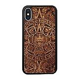 SMARTWOODS Aztec Calendar Dark Schützhülle für das neue Iphone Xs und iPhone X, Holzcase für Smartphone, Handyhülle, Schutzhülle aus Holz für iPhone, ökologisch, naturnah und original
