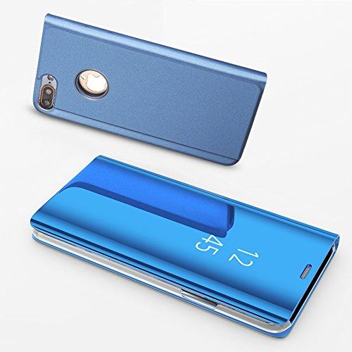 TOCASO iPhone 7 Hülle, iPhone 8 Hülle Blau, LED View Cover iPhone 7 Spiegel Schutzhülle iPhone 8 Leder Flip Case iPhone 7 Wallet Case Clear View iPhone 8 Flip Cover iPhone 7 / iPhone 8 Handyhülle