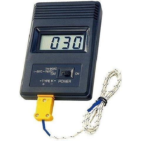 Termómetro por contacto / Medidor sonda de temperatura Tipo K +750ºC (TM-902C)