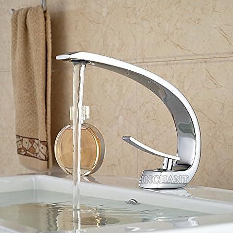 InChant 2016 kreatives Design Waschbecken Wasserhahn einzigen Handgriff-Plattform Berg Curve Spout Badezimmer-Mischer-Hahn Chrom-Finish Vanity-Behälter-Wannen-Hahn-Waschtischarmatur