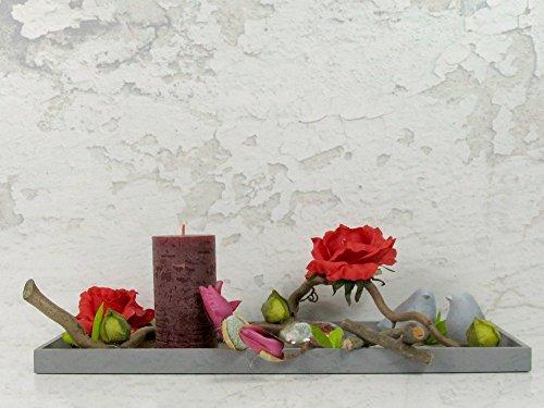 Tischgesteck Blumengesteck Seidenblumen Blumendekoration Muttertag Tischdekoration Rote Rosen Kerze Vögel