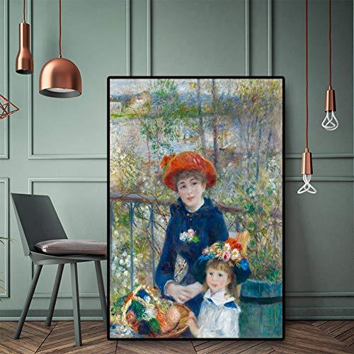 TBBWP Wandbild Leinwand Gemälde Modern Mode Zwei Schwestern Auf Die Terrasse Impressionismus Ölgemälde Renoir Poster Und Druck Leinwand Kunst Giclee Wand Bild Für Wohnzimmer