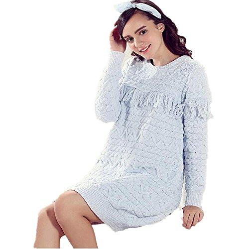 GJX Pigiama donna in autunno e inverno lana velluto coral velluto gonna stretch soddisfare ispessimento Home arredamento camicia da notte , light blue