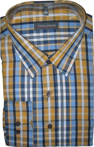 Herren Hemd von Jack Gorden Langarm Kentkragen auch Übergrößen Blau/Senf-karo