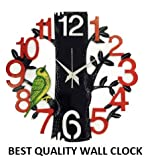 #6: Dinine Craft Wooden Wall Clock for home Latest Design for Living Room Decorative Wall Clock 13X13 Inch (Black+Red+Green)
