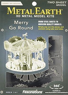 Merry Go Round: Metall Earth 3D Miniatur-Karussell-Laser-Schnitt Model Kit 2 Blatt von Fascinations
