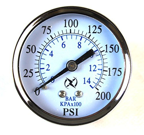 Best in USA Liquid Filled 2.5 Air Pressure Gauge Center Back Mount 1/4 NPT 2-1/2 Dial - 0 to 200 PSI by Best Music Posters - Npt Back Mount